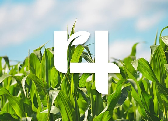 The 4r nutrient stewardship logo overlaid on a corn crop