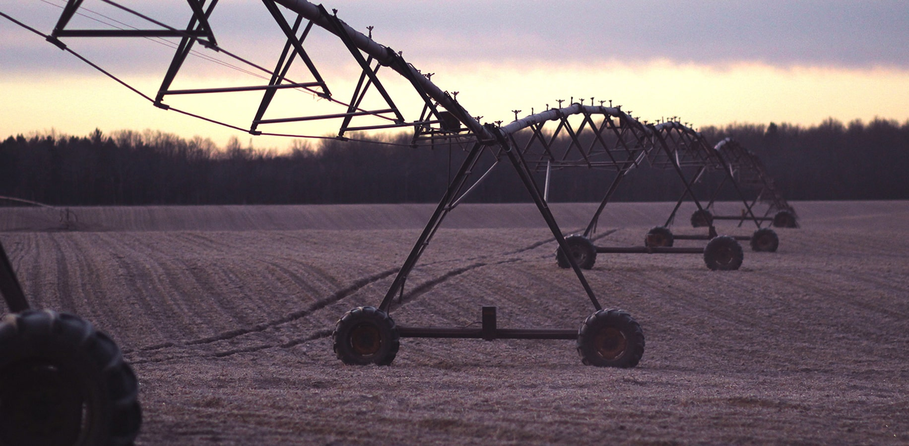 Pivot irrigation on a field